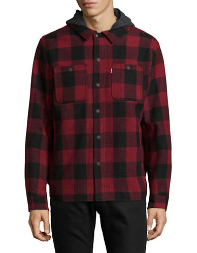 LeviS Water-Resistant Shirt Jacket with Sherpa Lining-RED/BLACK-Large