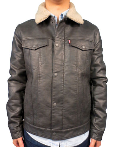 Levi'S Faux Leather Trucker Jacket-BROWN-Small 89271654_BROWN_Small