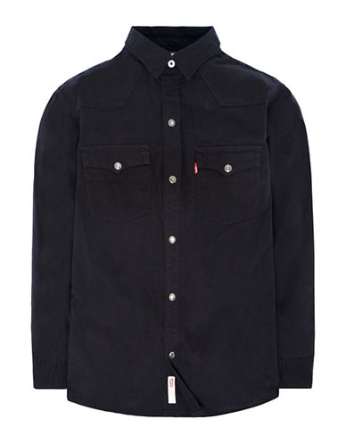 LeviS Barstow Western Cotton Sport shirt-BLACK-Large