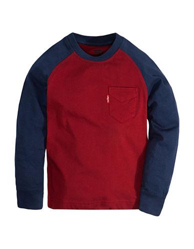 LeviS Colourblock Cotton Raglan Top-RED-5