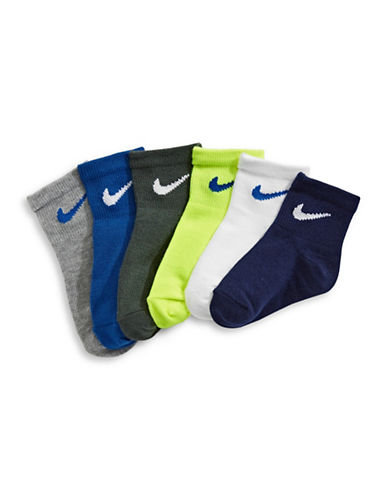 Nike Six-Pack Quarter Socks-ASSORTED-6-7