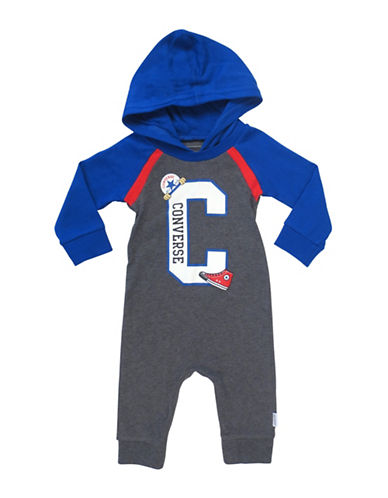 Converse Cotton Hooded Logo Coverall-GREY-3-6 Months
