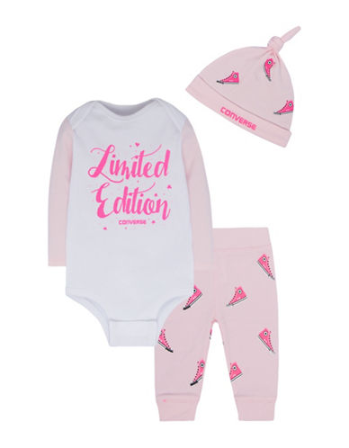 Converse Three-Piece Cotton Beanie, Bodysuit and Leggings Set-PINK-0-3 Months