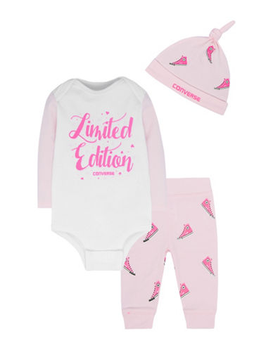 Converse Three-Piece Cotton Beanie, Bodysuit and Leggings Set-PINK-9-12 Months