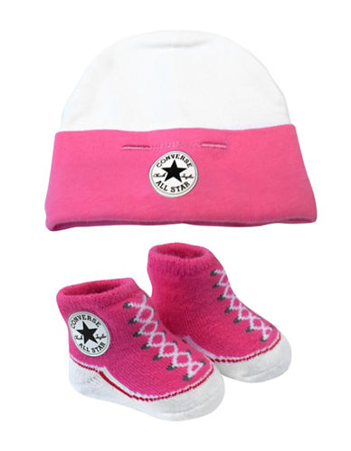 Converse Two-Piece Beanie and Socks Set-PINK-0-6 Months