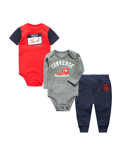 Converse Three-Piece Bodysuit and Jogger Pants Set-BLUE-3-6 Months
