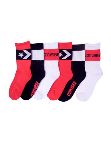Converse Six-Pack Basic Chuck Crew Socks-PINK-9-11