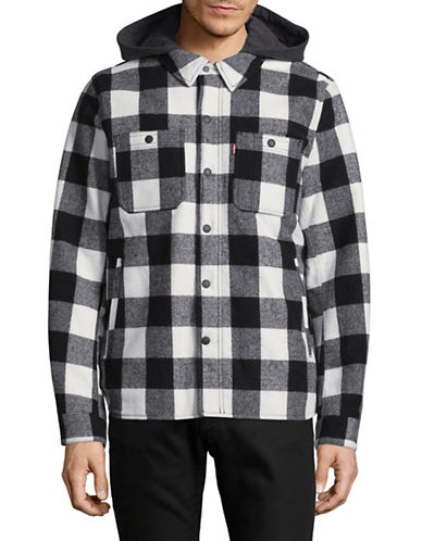 LeviS Buffalo Plaid Wool-Blend Flannel Jacket-WHITE-Large