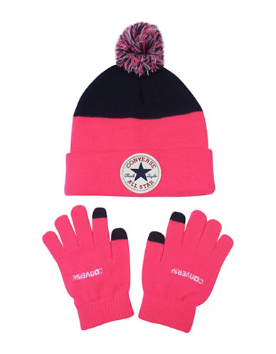 Converse Blocked Beanie and Gloves Set-PINK-7-16