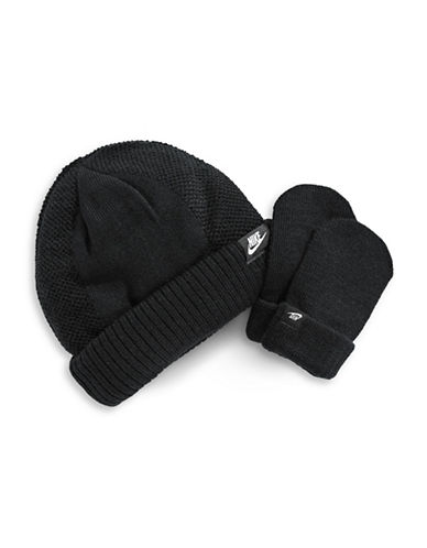 Nike Two-Piece Logo Beanie and Mittens Set-BLACK-12-24 Months