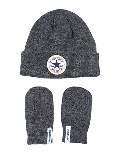 Converse Fisherman Beanie and Mittens Set-GREY-12-24 Months