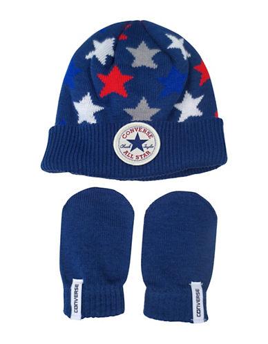 Converse Americana Beanie and Mittens Set-BLUE-12-24 Months