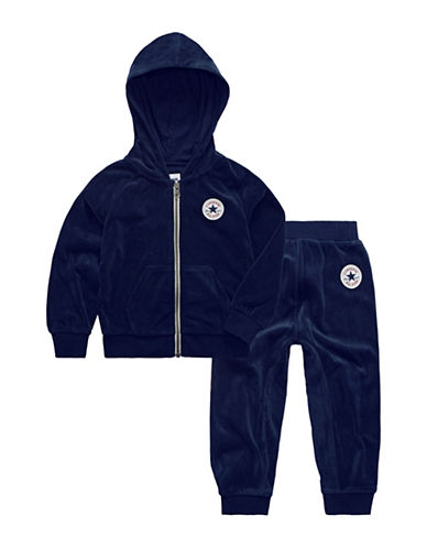 Converse Two-Piece Velour Hoodie and Pants Set-OBSIDIAN-2T