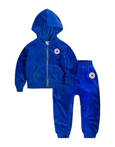 Converse Two-Piece Velour Hoodie and Pants Set-BLUE-2T