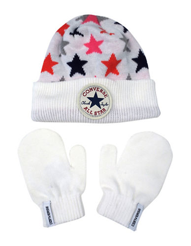 Converse Americana Beanie and Mittens Set-WHITE-2-6