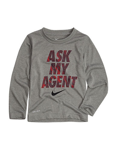 Nike Ask My Agent Tee-GREY-7