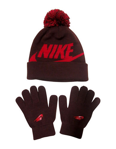 Nike Logo Beanie and Gloves Set-RED-4-7