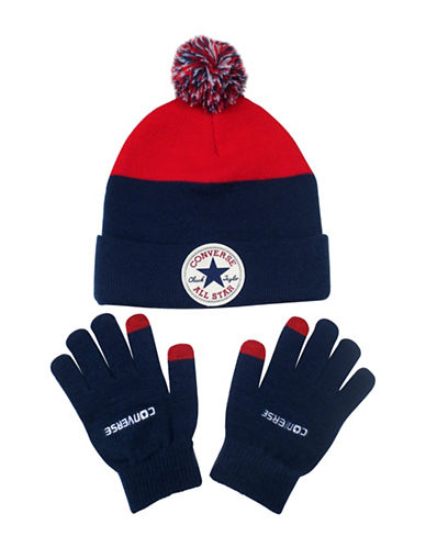 Converse Blocked Beanie and Gloves Set-BLUE-8-20