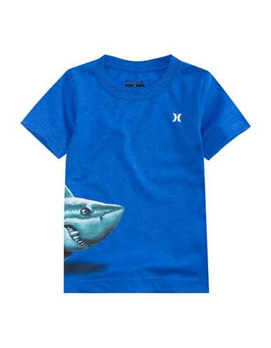 Hurley Shark Graphic Tee-BLUE HEATHER-Small