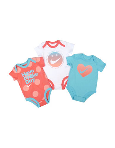 Nike Short-Sleeve Cotton Bodysuit Three Pack-SEA CORAL-9-12 Months