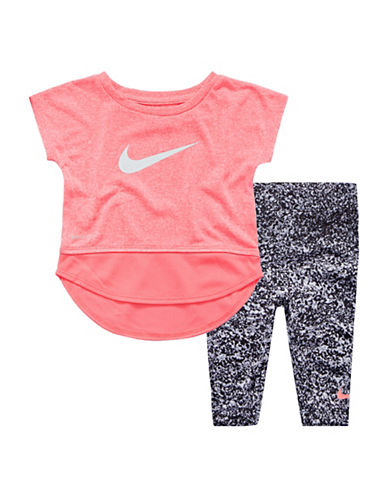 Nike Short-Sleeve Top and Printed Leggings Set-BLACK/PINK-12 Months