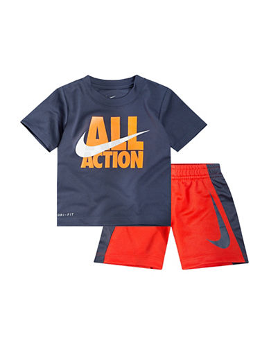 Nike Two-Piece All Action Tee and Shorts Set-BLUE-12 Months