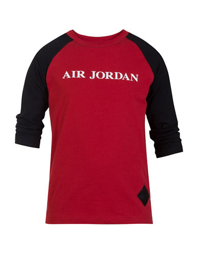 Jordan Raglan-Sleeve Tee-RED-Medium