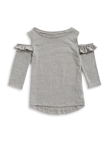 LeviS Cold-Shoulder Heathered Top-GREY-5