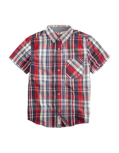 LeviS The Smith Short-Sleeve Cotton Sport Shirt-RED-Large