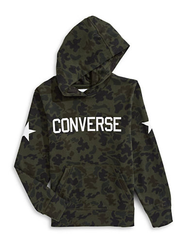 Converse Heritage Camo Logo Hoodie-GREEN-Small