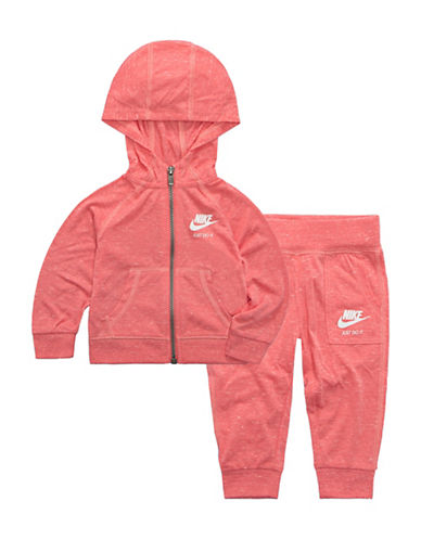 Nike Two-Piece Hoodie and Pants Set-CORAL-4T