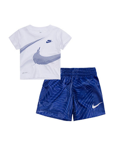 Nike Dri-Fit Tee & Stretch Shorts Set-WHITE-2T