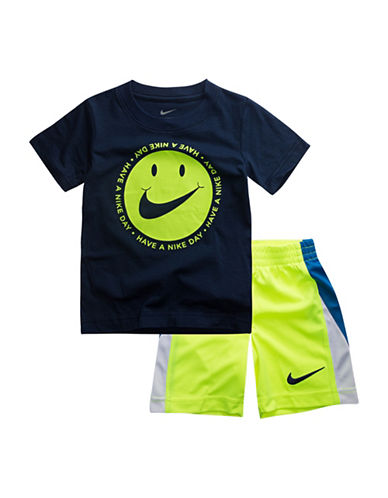 Nike Two-Piece DNA Cotton Tee And Shorts Set-NAVY-3T