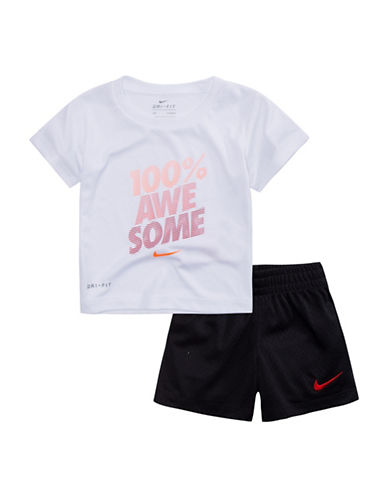 Nike Awesome Tee and Shorts Set-BLACK-3T