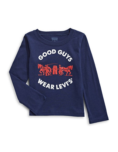 LeviS Graphic Long-Sleeve Cotton Tee-BLUE-18 Months