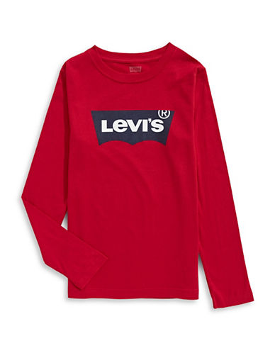Levi'S Studded Bow Long Sleeve T-Shirt-RED-X-Large 89652741_RED_X-Large