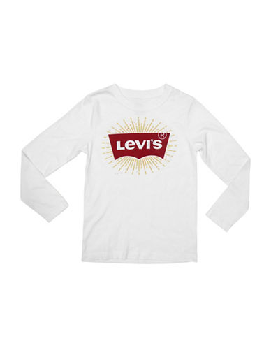 Levi'S Studded Bow Long Sleeve T-Shirt-WHITE-Small 89652742_WHITE_Small
