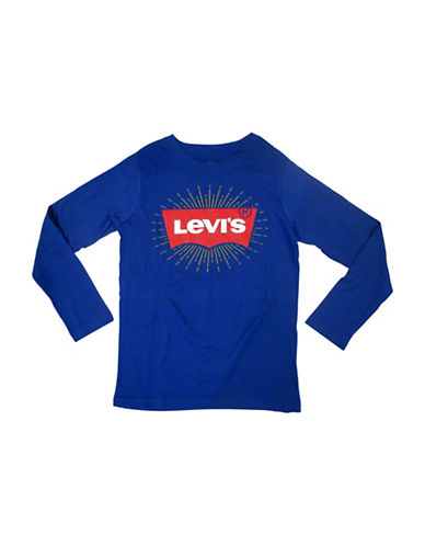 LeviS Batwing Cotton Top-BLUE-5