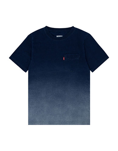 LeviS Ombre Sunset Pocket Cotton Tee-INDIGO-Large