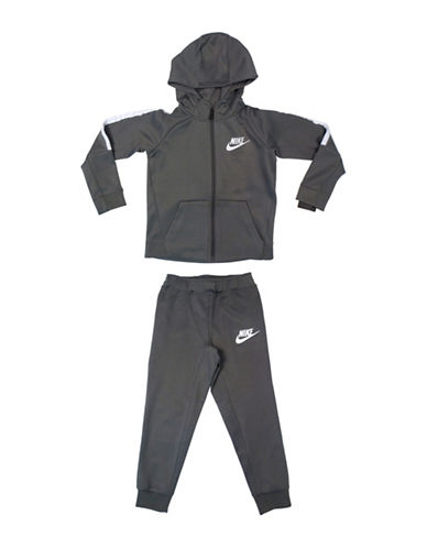 Nike Two-Piece Logo Hooded Jacket and Sweatpants set-GREY-6