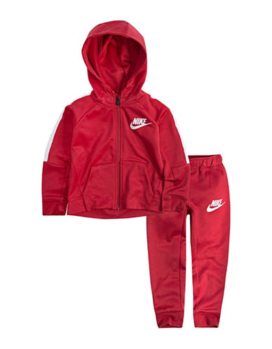 Nike Two-Piece Logo Hooded Jacket and Sweatpants set-RED-7