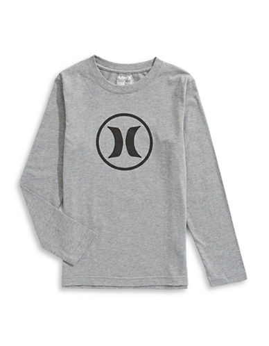 Hurley Logo Long-Sleeve Tee-GREY-Medium