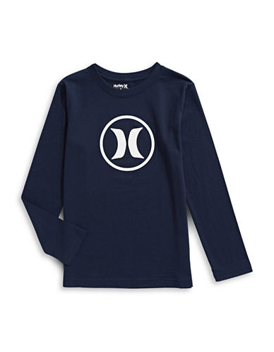 Hurley Logo Long-Sleeve Tee-BLUE-Large