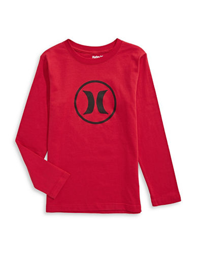 Hurley Logo Long-Sleeve Tee-RED-X-Large
