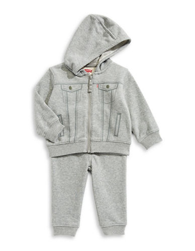 LeviS Two-Piece Hooded Graphic Jacket and Heathered Jogger Pants Set-GREY-12 Months