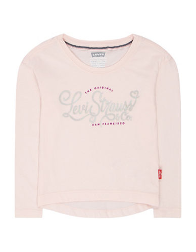 LeviS Graphic Heathered Tee-PINK-2T