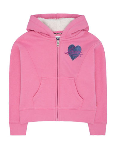 LeviS Rain Dancer Sweatshirt with Faux Fur-Lined Hood-PINK-2T