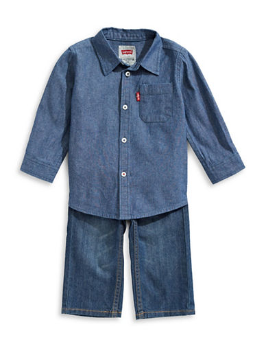 LeviS Woven Shirt and Pants Set-BLUE-24 Months