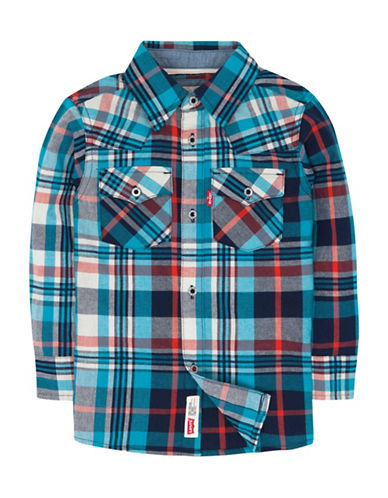 LeviS Toddlers Barstow Western Cotton Collared Shirt-TURKISH BLUE-2T