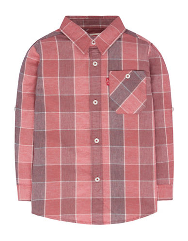 LeviS Plaid One-Pocket Shirt-RED-Medium